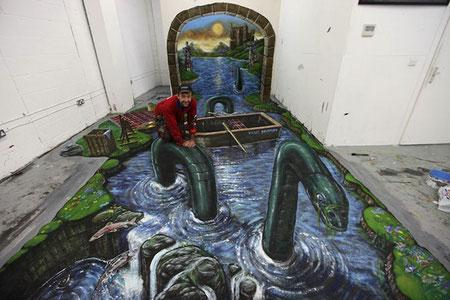 3D Loch Ness monster art illusion